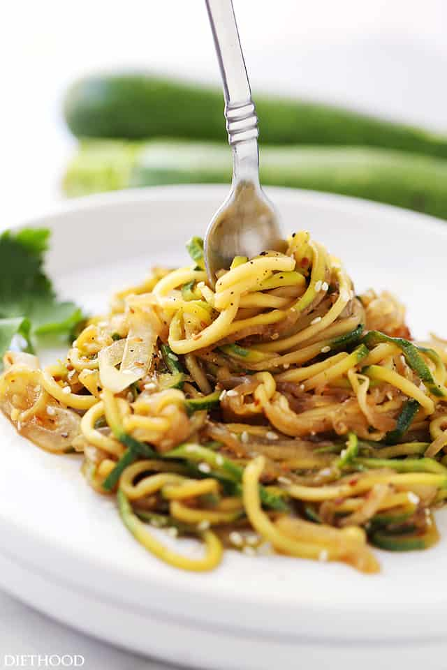 Stir Fried Zucchini Noodles