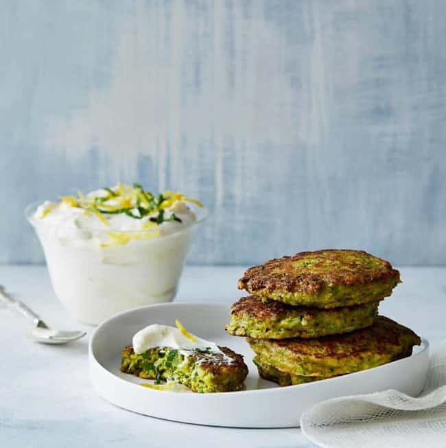 Savory Turmeric Pancakes with Lemon Yogurt Sauce