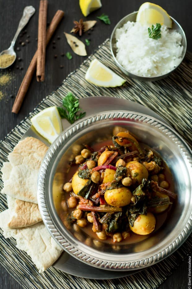 Potato Chickpea Beet Greens Curry