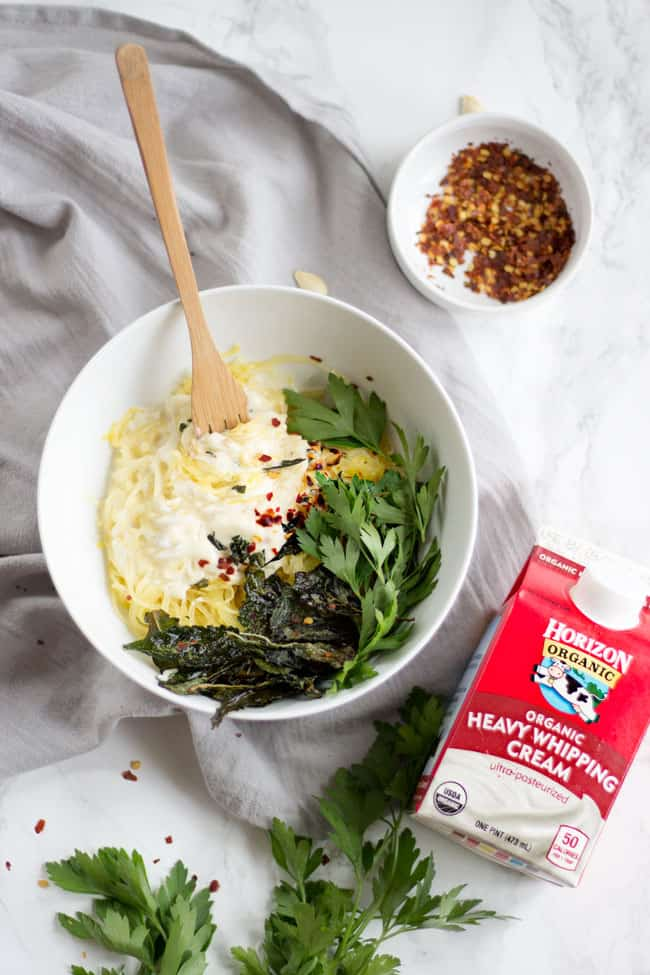 Healthy Spaghetti Squash Alfredo with Crispy Kale Leaves