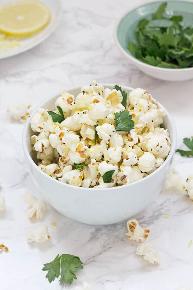 Lemon, Pepper and Parsley Popcorn by Hello Glow