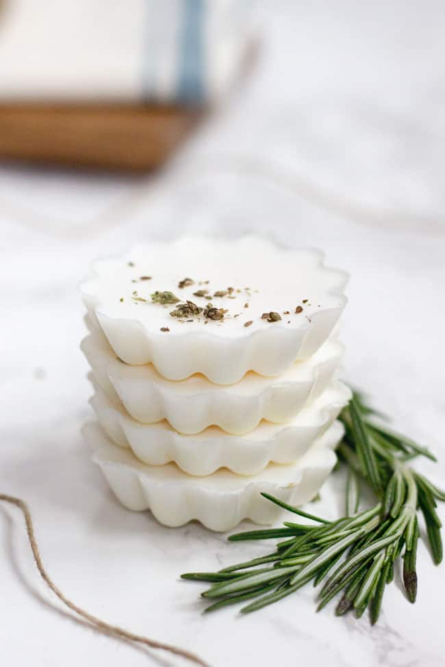 Easy Rosemary + Eucalyptus Melt and Pour Soaps