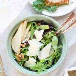 Your Holiday Dinner Solution with Simple Pear Walnut Salad + Poppyseed Dressing