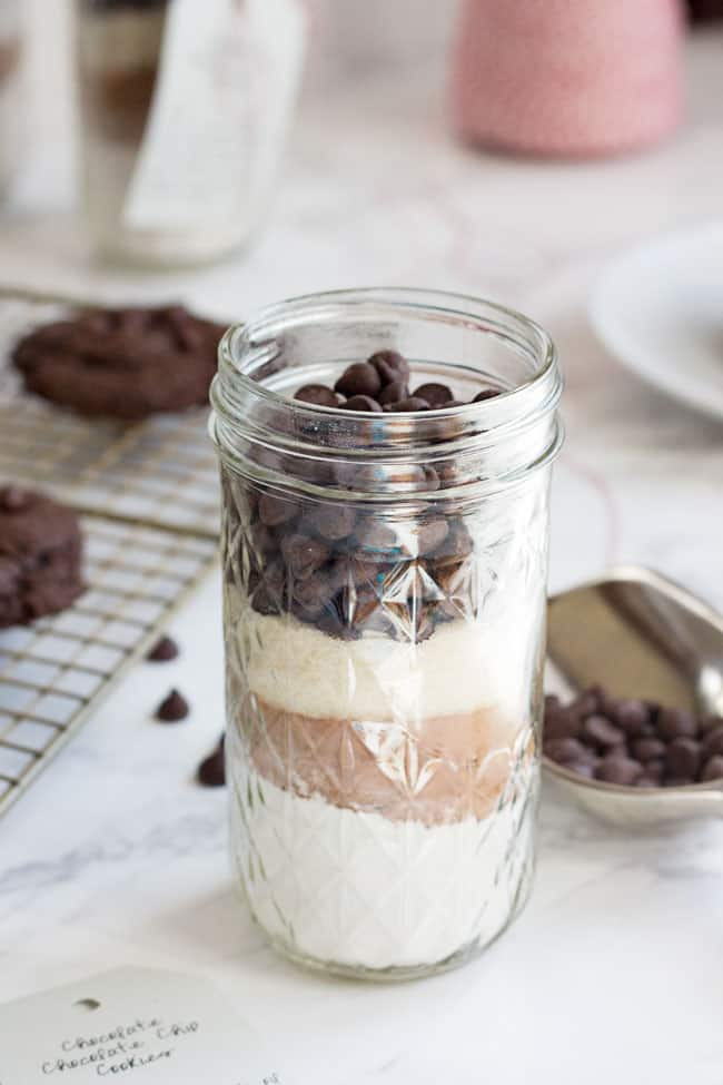 Vegan Double Chocolate Chip Cookies in a Jar
