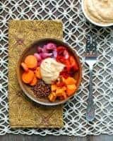 Roasted Veggie & Quinoa Bowl with Coconut-Almond Sauce