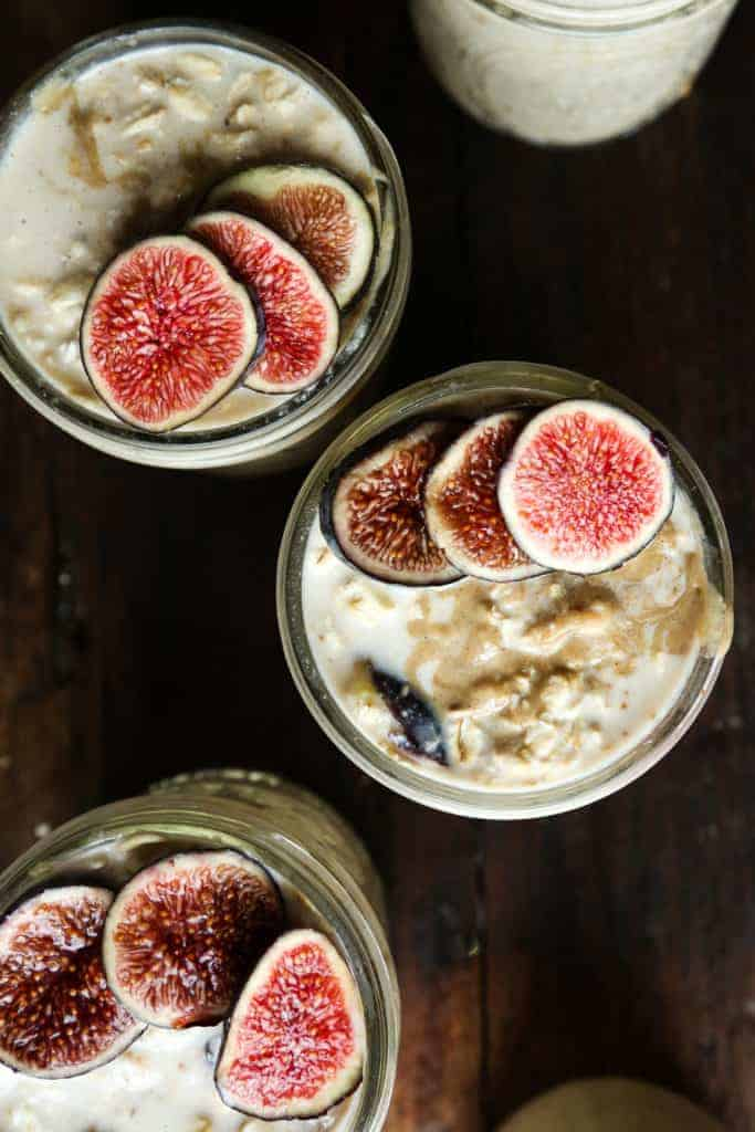 Maple + Fig + Tahini Overnight Oats from Probably This