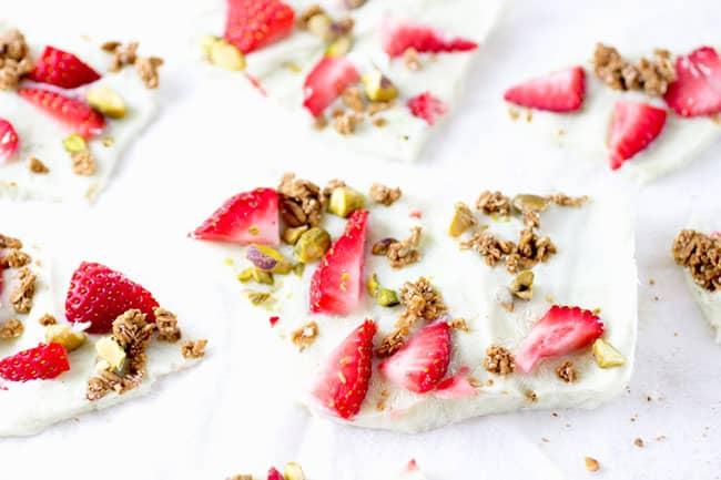 Strawberry, Pistachio + Granola Yogurt Bark