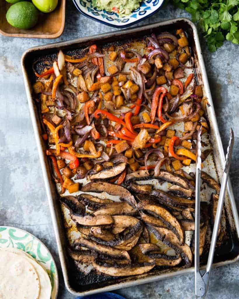 Veggie Sheet Pan Fajitas with Cumin-Lime Crema