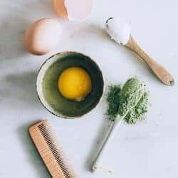 A Matcha Green Tea Hair Mask + Rinse For Healthy, Shiny Hair