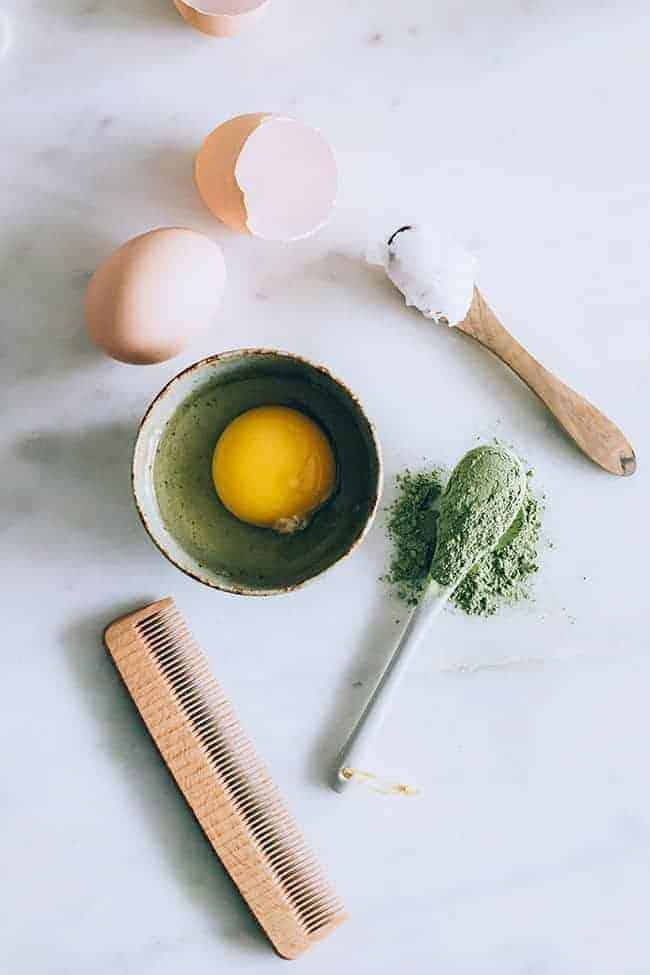 A Matcha Green Tea Hair Mask + Rinse For Healthy, Shiny Hair