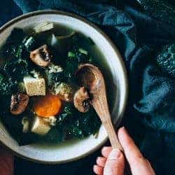 Healing Miso Soup with Seaweed and Kale