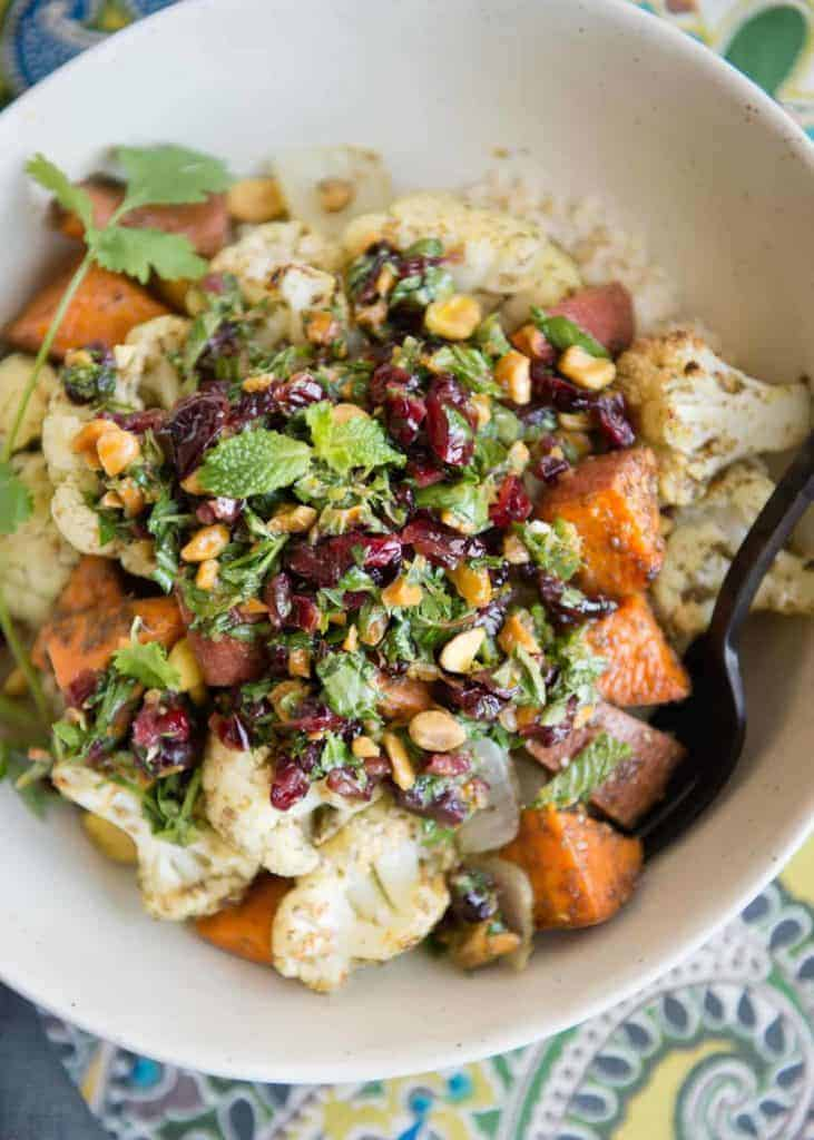 Roasted Veggies with Cranberry-Herb Sauce