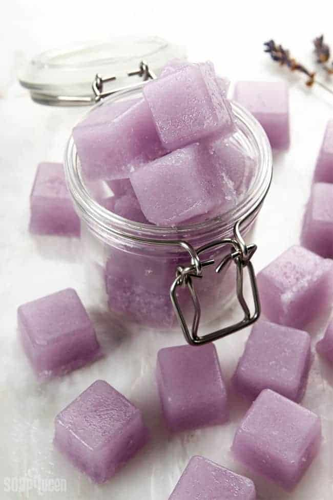 DIY Violet Sugar Scrub Cubes from Soap Queen