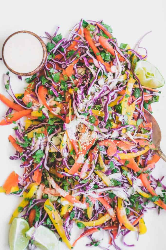 Thai Slaw with Creamy Cashew Lime Sauce - Jessie from Faring Well