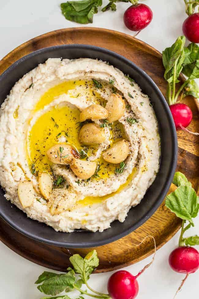 Meet Your New Favorite Snack: Roasted Garlic + Herb White Bean Dip