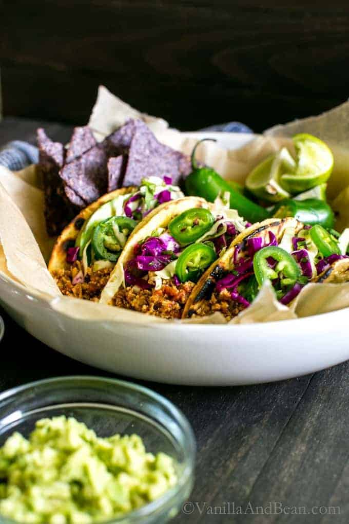 Mexican-Inspired Tofu Tacos from Vanilla and Bean