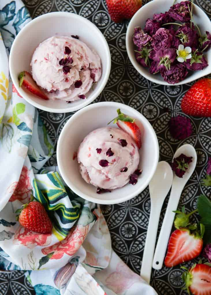 Vegan Strawberry Rosewater Ice Cream
