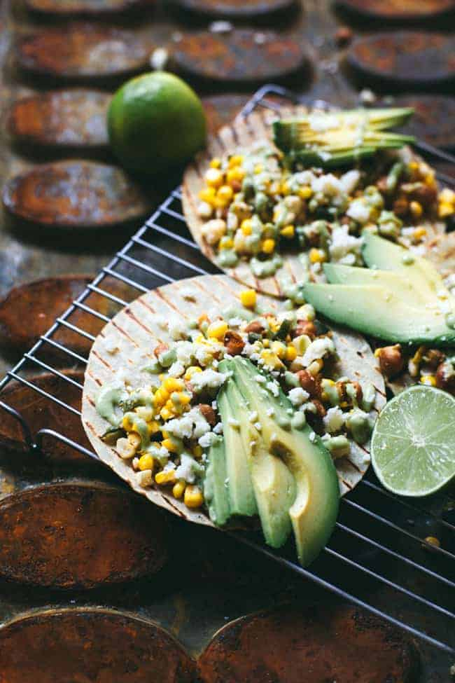 Chickpea Street Corn Tacos with Spicy Avocado Cream Sauce from Brewing Happiness