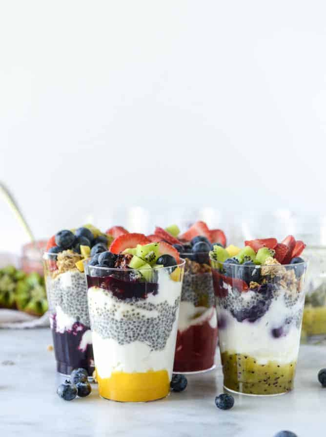 Rainbow Syrup Bottomed Chia Pudding Parfaits from How Sweet It Is