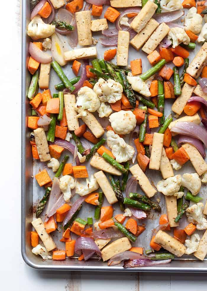 Sheet Pan Tofu and Veggie Dinner from Kitchen Treaty