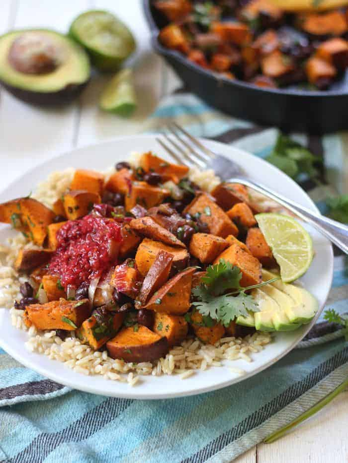 Black Bean Sweet Potato Burrito Bowls - Alissa from Connoisseurus Veg
