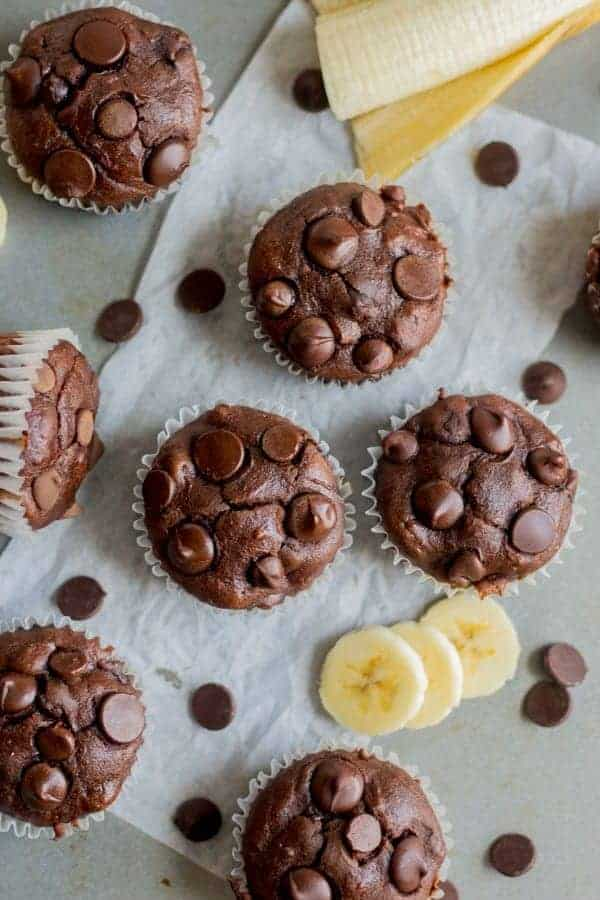 Chocolate Banana Blender Muffins from What Molly Made