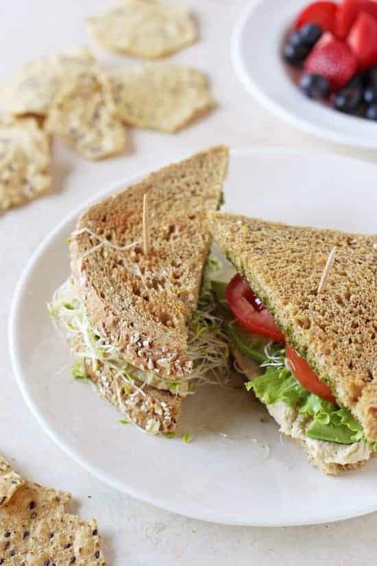 Hummus Veggie Pesto Sandwiches