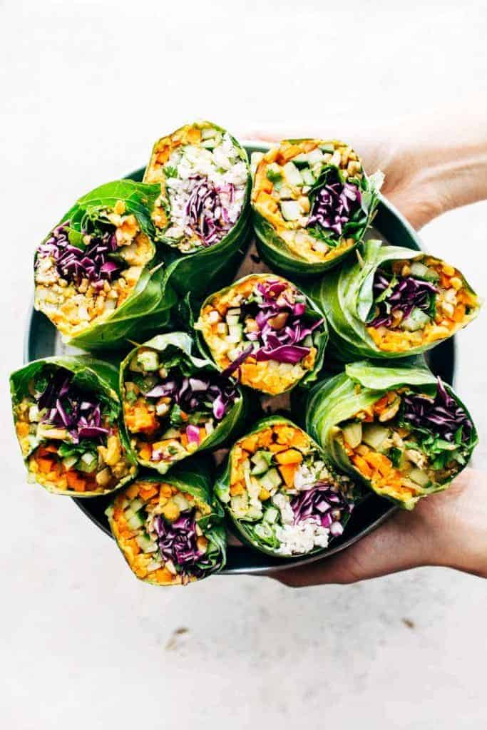 Detox Rainbow Roll-Ups with Peanut Sauce from Pinch of Yum