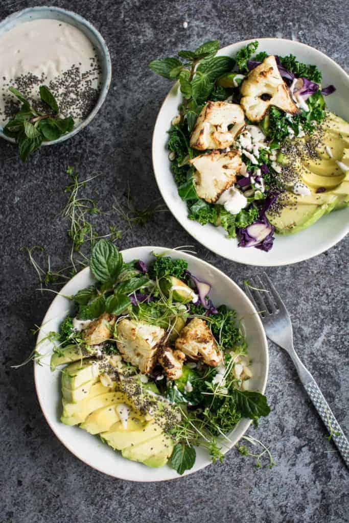 Roasted Cauliflower Detox Bowl with Tahini Sauce from Lauren Caris Cooks