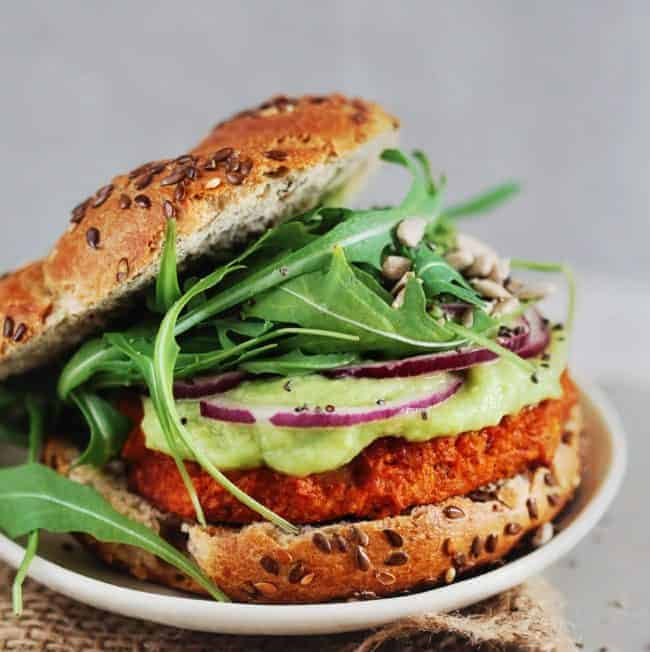 Sweet Potato Burgers with Avocado-Lime Sauce