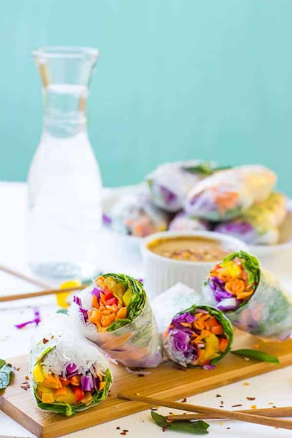 Fresh Spring Rolls with Peanut Ginger Sauce from Jessica in the Kitchen