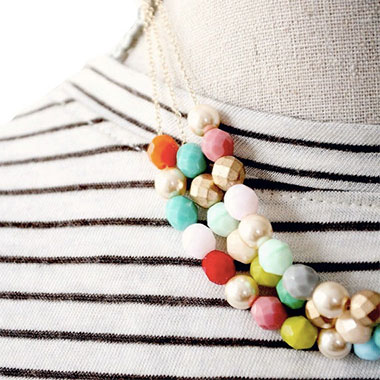 Beaded Multi Strand Statement Necklace