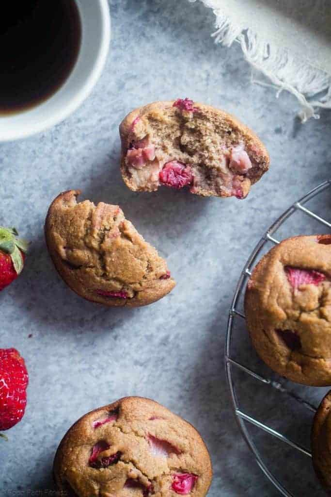 Strawberry Oatmeal Muffins with Rhubarb from Food Faith Fitness