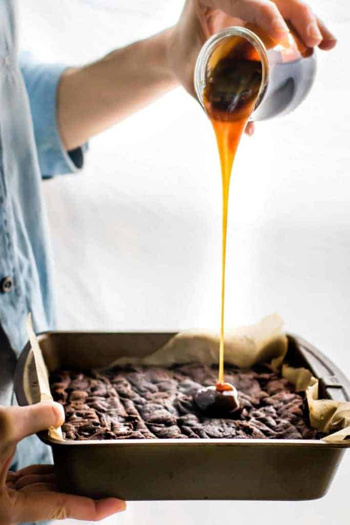 One-Bowl Vegan Dark Chocolate Salted Caramel Brownies from Cotter Crunch