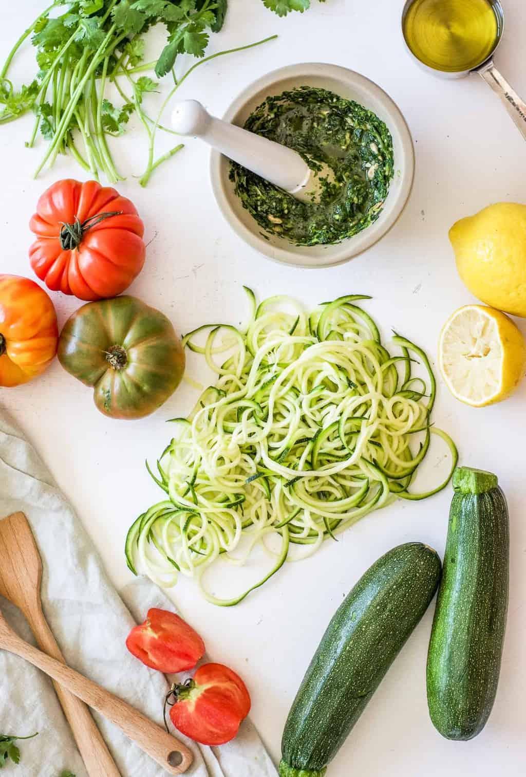 Detox Zucchini Noodles with Cilantro Pesto