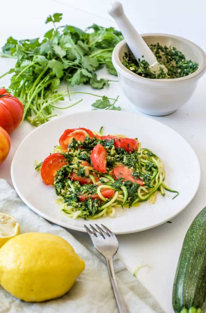Detox Zucchini Noodles with Cilantro Pesto from Hello Glow