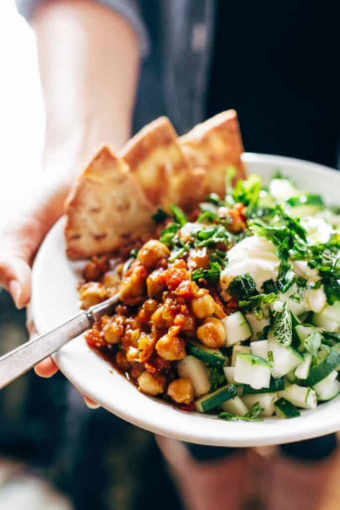 Detox Moroccan-Spiced Chickpea Glow Bowl from Pinch of Yum