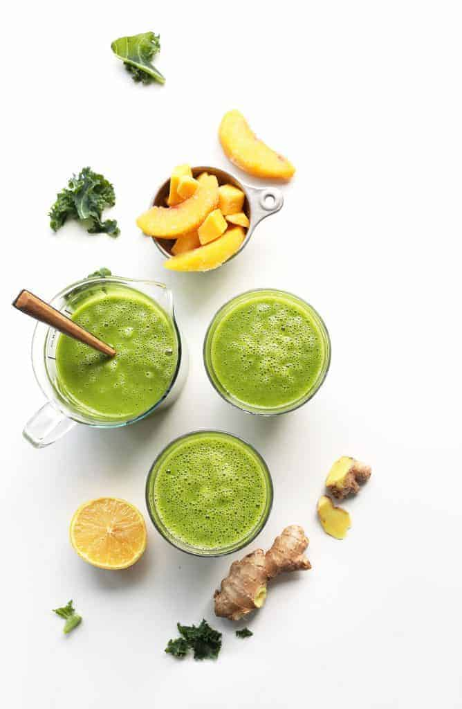 Mango Ginger Kale Green Smoothie from Minimalist Baker