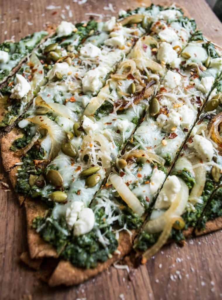Three Cheese Spinach Pesto Pizza from Lemons and Basil