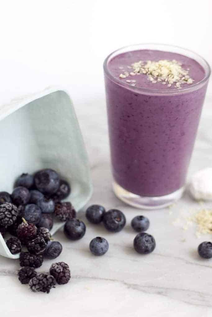 Mulberry Hemp Seed Beauty Booster Smoothie from Healthfully Ever After