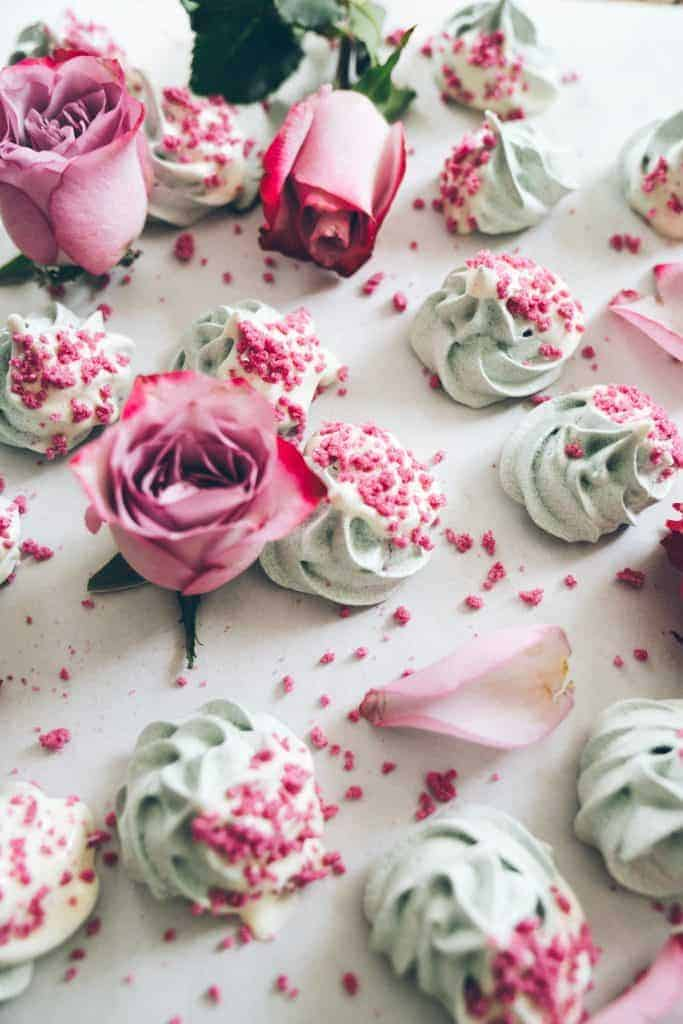 Spirulina Superfood Meringues with Rose Crystals from Healthfully Ever After