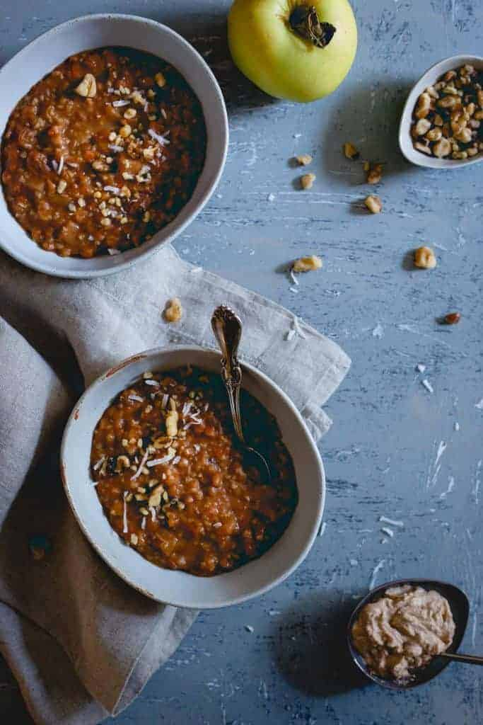 Apple Butter Carrot Cake Oatmeal from Running to the Kitchen