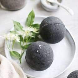 Skin-Soothing Black Bath Bombs With Activated Charcoal