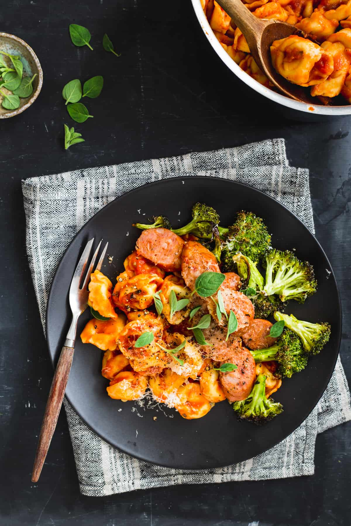 Cheese Tortellini with Roasted Broccoli and Sausage