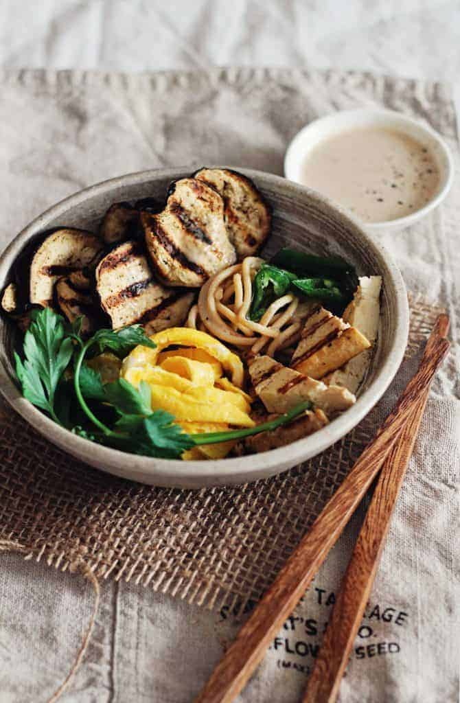 Soba Protein Bowl with Grilled Eggplant, Tofu & Spicy Almond Butter Sauce