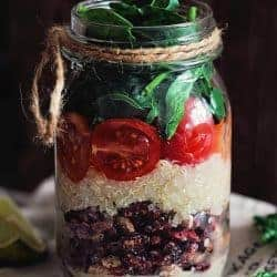 Super Satisfying Layered Quinoa Bean Salad in a Jar
