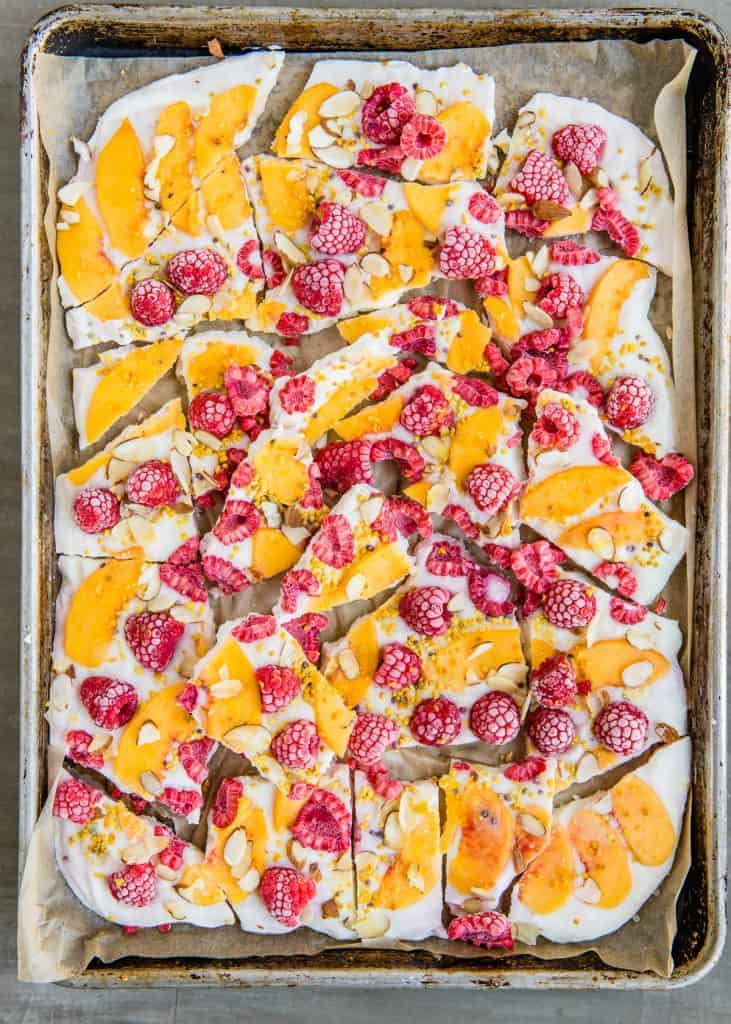 Peach Melba Yogurt Bark recipe | HelloGlow.co