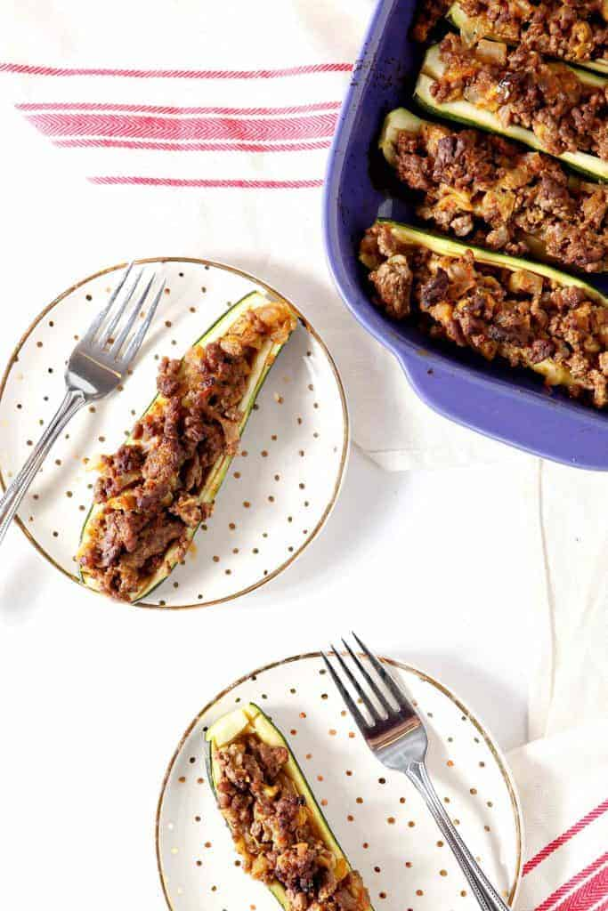 Whole30 Taco Zucchini Boats from The Speckled Plate
