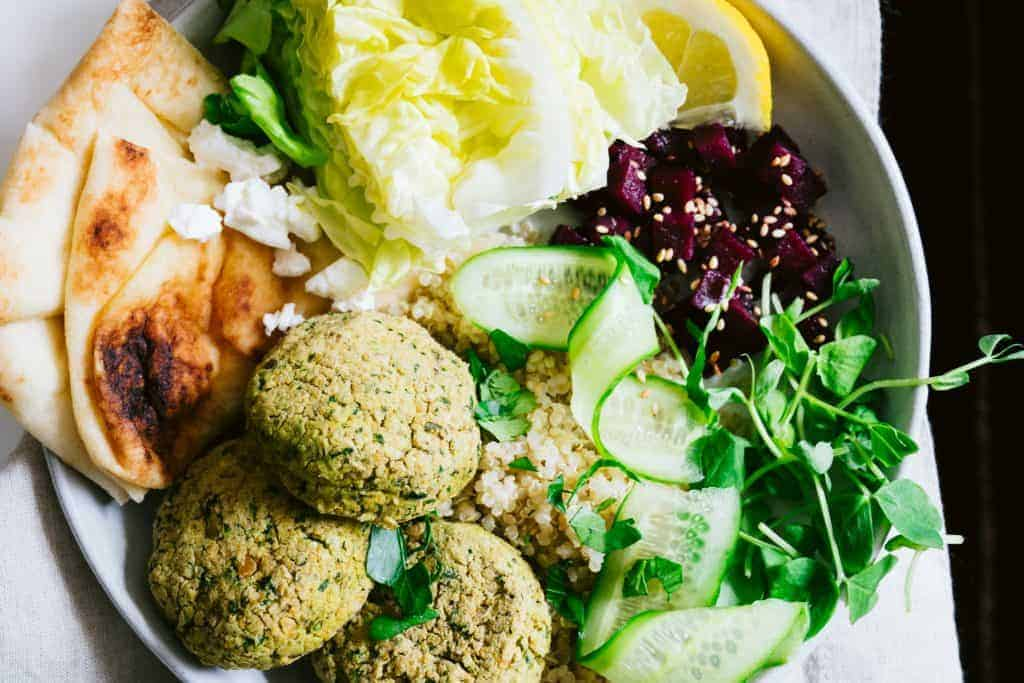 Feta-Stuffed and Baked Falafel Bowl - Healthfully Ever After