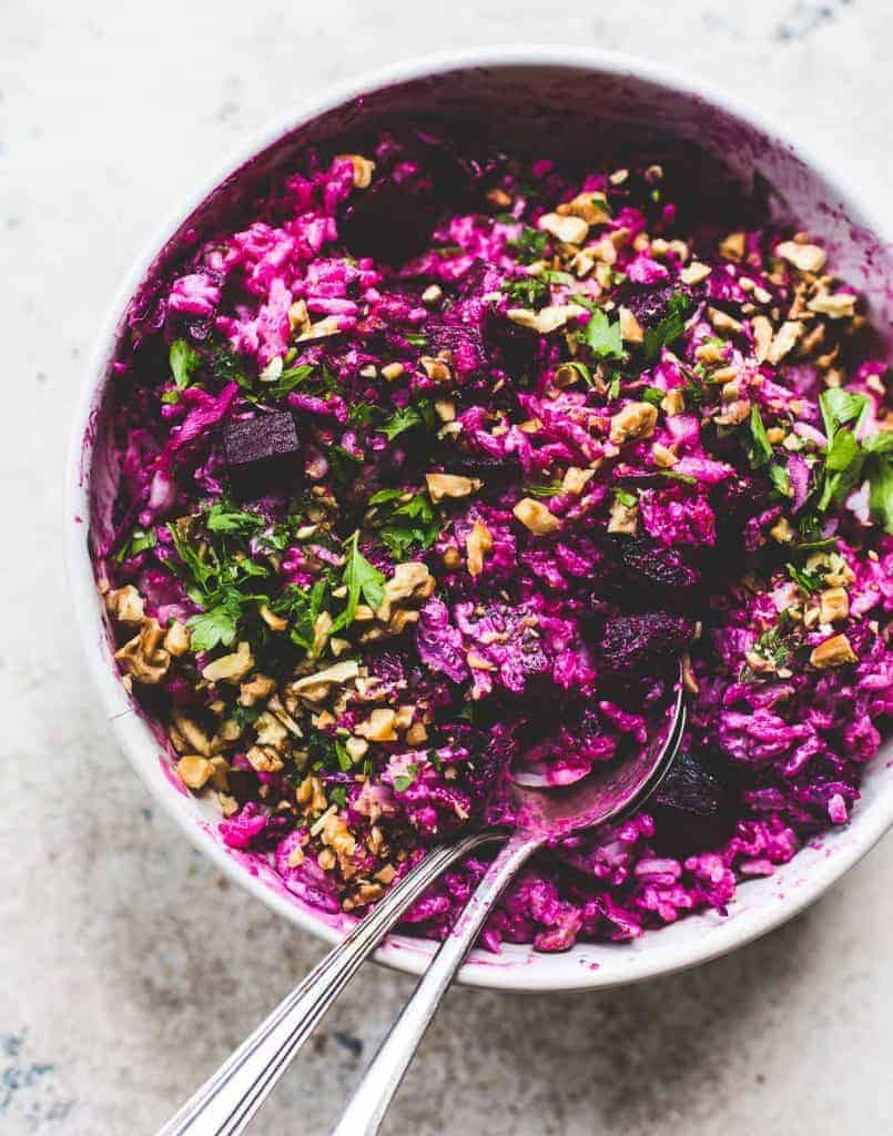 Super Pink Roasted Beet and Rice Salad - Amanda from Heartbeet Kitchen